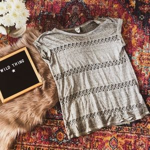 Marled linen tee lace cut out boho Anthropologie